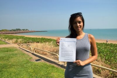 Mariela showing grant letter of her quick visa
